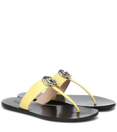 Gucci - Marmont leather thong sandals | Mytheresa