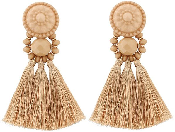 Amazon.com: Boderier Bohemian Statement Thread Tassel Chandelier Drop Dangle Earrings with Cassandra Button Stud (Brown): Jewelry