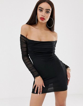 PrettyLittleThing bardot bodycon dress with ruched mesh in black | ASOS