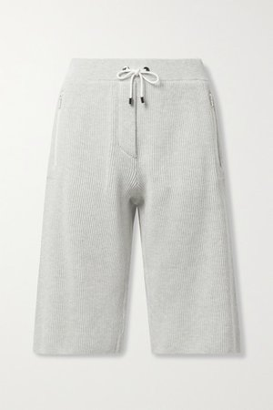 Ribbed Cotton Shorts - Light gray
