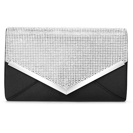 CurvChic Women Evening Bag Clutch Purse Rhinestone-Studded Flap for Wedding Prom Cocktail Party (Black): Handbags: Amazon.com