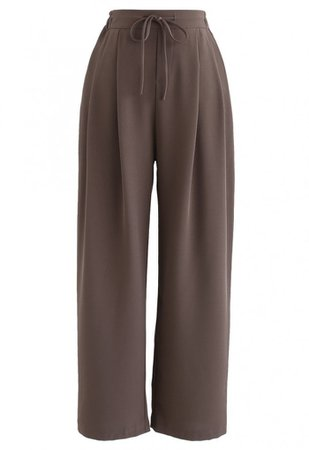 Drawstring High-Waisted Wide-Leg Pants in Brown - Pants - BOTTOMS - Retro, Indie and Unique Fashion