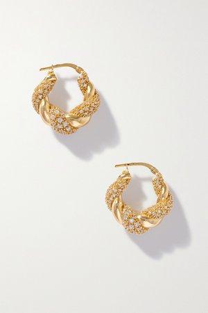 Gold Gold-plated crystal hoop earrings | Bottega Veneta | NET-A-PORTER