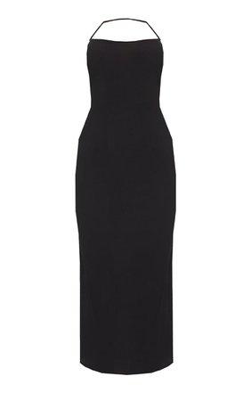 Black Rib Multi Strap Halterneck Midi Dress | PrettyLittleThing USA