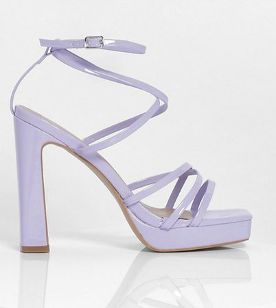 lilac violet high heels boohoo sandals