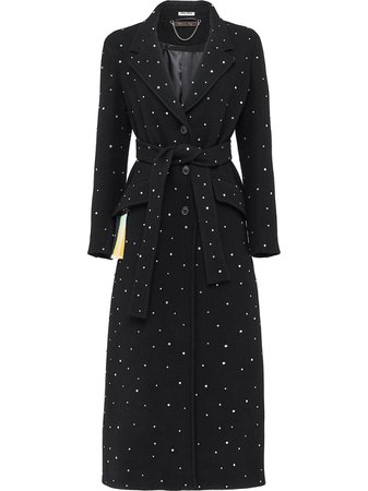 Shop black Miu Miu crystal-embellished coat with Express Delivery - Farfetch
