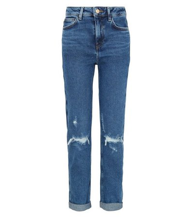 Girls Blue Ripped Stretch Mom Jeans | New Look