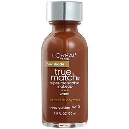 L'Oreal Paris Makeup True Match Super-Blendable Liquid Foundation, Deep Golden W10, 1 Fl Oz,1 Count
