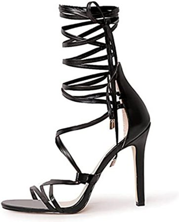 Amazon.com | LISHAN Womens Gladiator Knee High Sandals Open Toe Lace Up Criss Cross Strappy Stiletto Heels | Heeled Sandals