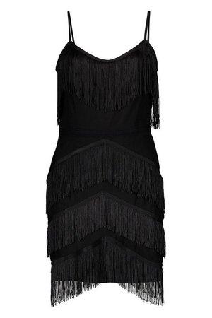 Petite Premium All Over Tassel Bodycon Mini Dress   Boohoo