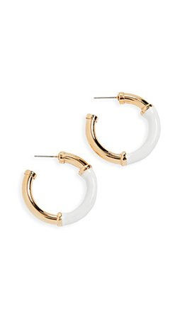 Kenneth Jay Lane Small Gold and White Earrings | SHOPBOP