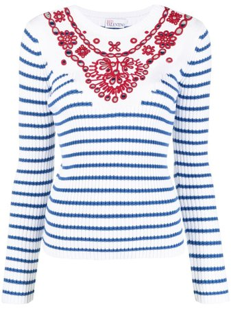 RED Valentino embroidered striped jumper