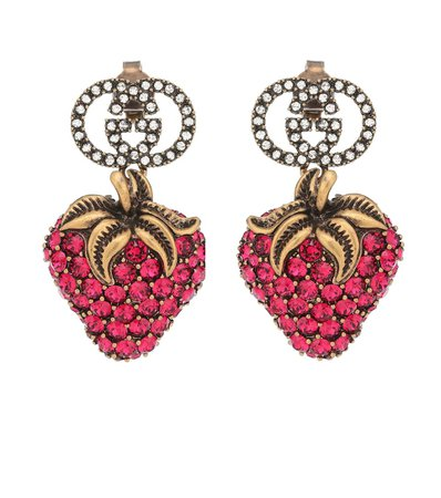Strawberry Crystal Earrings - Gucci | Mytheresa