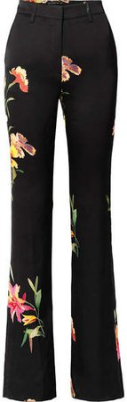 Floral-print Cady Flared Pants - Black