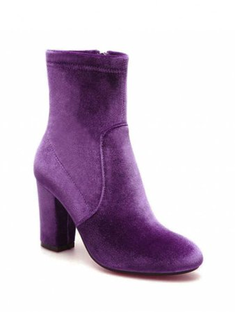 [42% OFF] 2019 Chunky Heel Velvet Sock Boots In PURPLE | ZAFUL