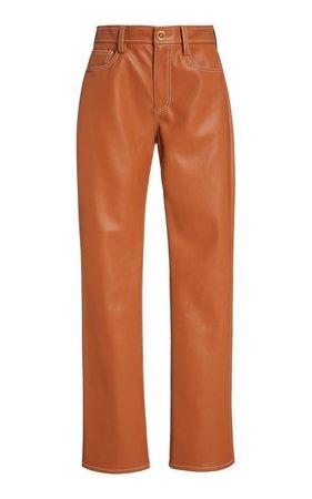 Eli Vegan Leather Straight-Leg Pants by Staud   Moda Operandi