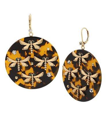 Betsey Johnson Dragonfly Tortoise Drop Earrings, Tortoise, One Size: Clothing