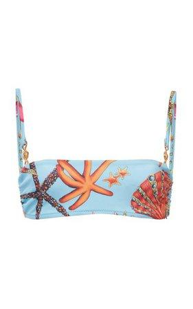 Printed Bandeau Bikini Top By Versace | Moda Operandi
