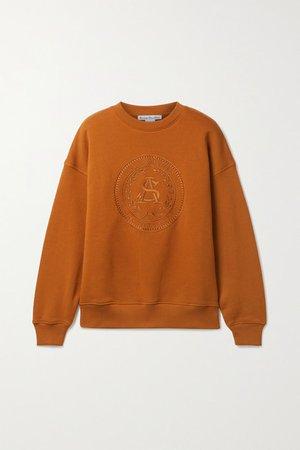 Embroidered Cotton-jersey Sweatshirt - Camel