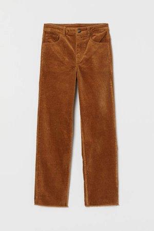 Ankle-length Corduroy Pants - Beige