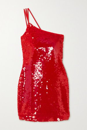 One-shoulder Sequined Crepe Mini Dress - Red