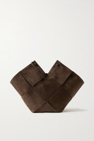 Flower Basket Large Intrecciato Suede And Leather Tote - Brown