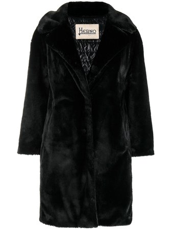 Shop black Herno faux fur coat with Express Delivery - Farfetch