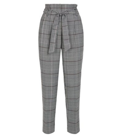 Off White Check High Waist Trousers | New Look