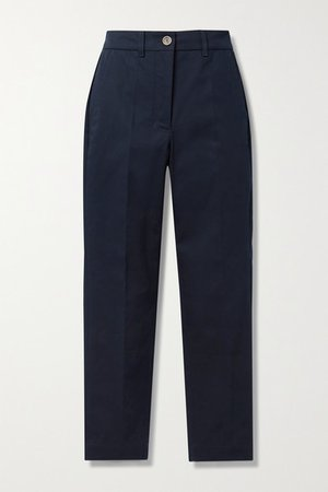 Cotton-blend Twill Tapered Pants - Navy