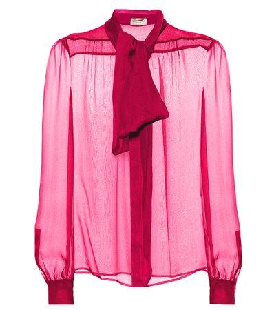 Saint Laurent - Silk mousseline blouse | Mytheresa