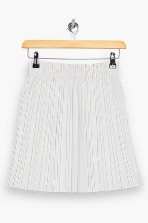PU White Pleated Mini Skirt   Topshop