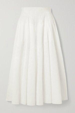Embroidered Cotton-blend Poplin Midi Skirt - White