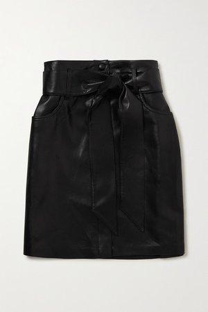 Meda Belted Vegan Leather Mini Skirt - Black