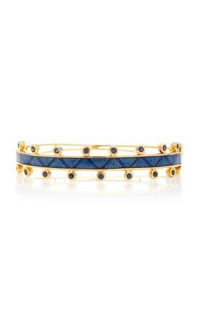 M.Spalten Chroma 18K Gold Sapphire And Enamel Bracelet