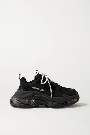 Triple S Clear Sole Logo-embroidered Leather, Nubuck And Mesh Sneakers - Black