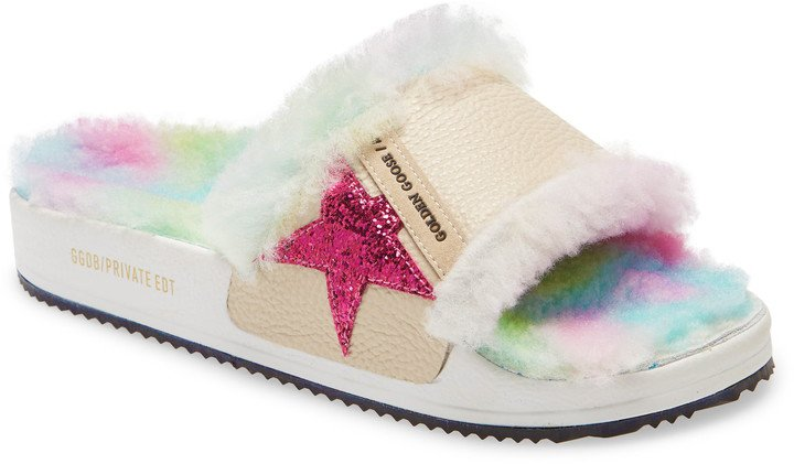 Poolstar Genuine Shearling Slide Sandal