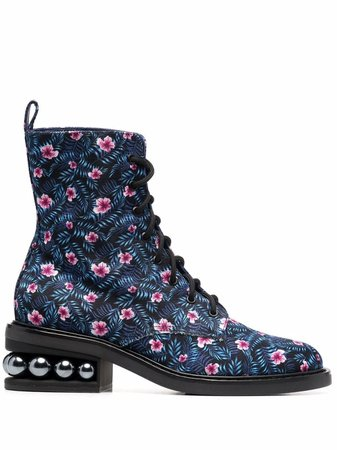 Shop Nicholas Kirkwood floral-print CASATI ankle boots with Express Delivery - FARFETCH