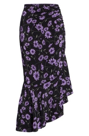 Michael Kors Floral Gathered Asymmetrical Silk Skirt | Nordstrom