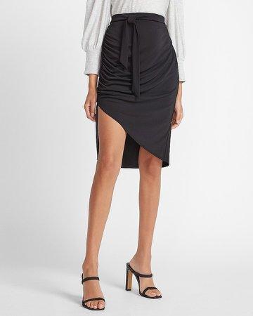 High Waisted Asymmetrical Hem Skirt