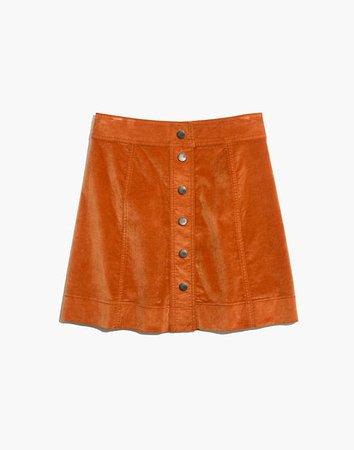 Velveteen A-Line Mini Skirt: Button-Front Edition