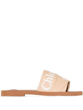 Shop Chloé Woody logo strap sandals with Express Delivery - Farfetch
