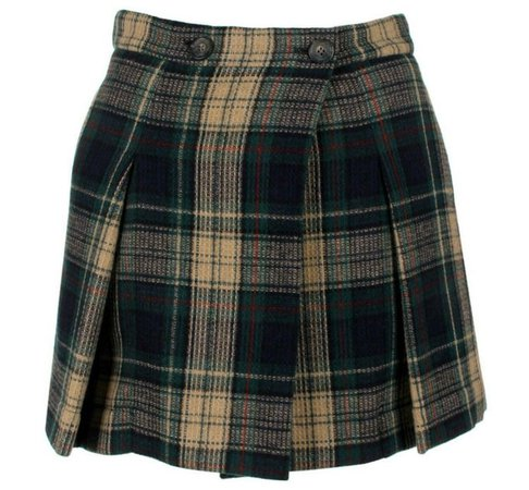 Brown & Black Plaid Skirt
