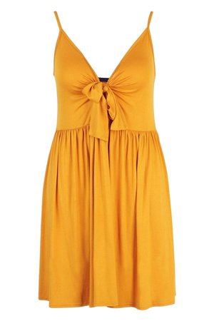 Plus Strappy Knot Front Swing Dress | boohoo