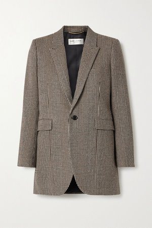 Gray Checked wool-blend blazer | SAINT LAURENT | NET-A-PORTER