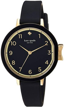 Amazon.com: kate spade new york Women's Park Row Silicone Stainless Steel Japanese-Quartz Watch Strap, Black, 12 (Model: KSW1352): Watches
