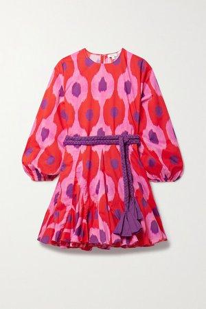 Ella Belted Floral-print Cotton-voile Mini Dress - Pink