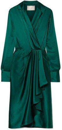 Wrap-effect Silk-charmeuse Dress - Emerald