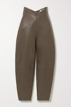 The Leather Tapered Pants - Army green