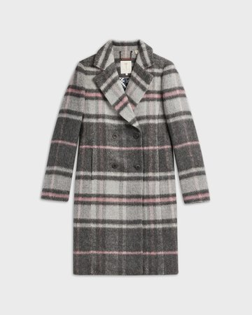 Chevron Wool Midi Coat - Grey | Jackets and Coats | Ted Baker ROW
