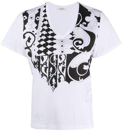 tile-print cotton T-shirt